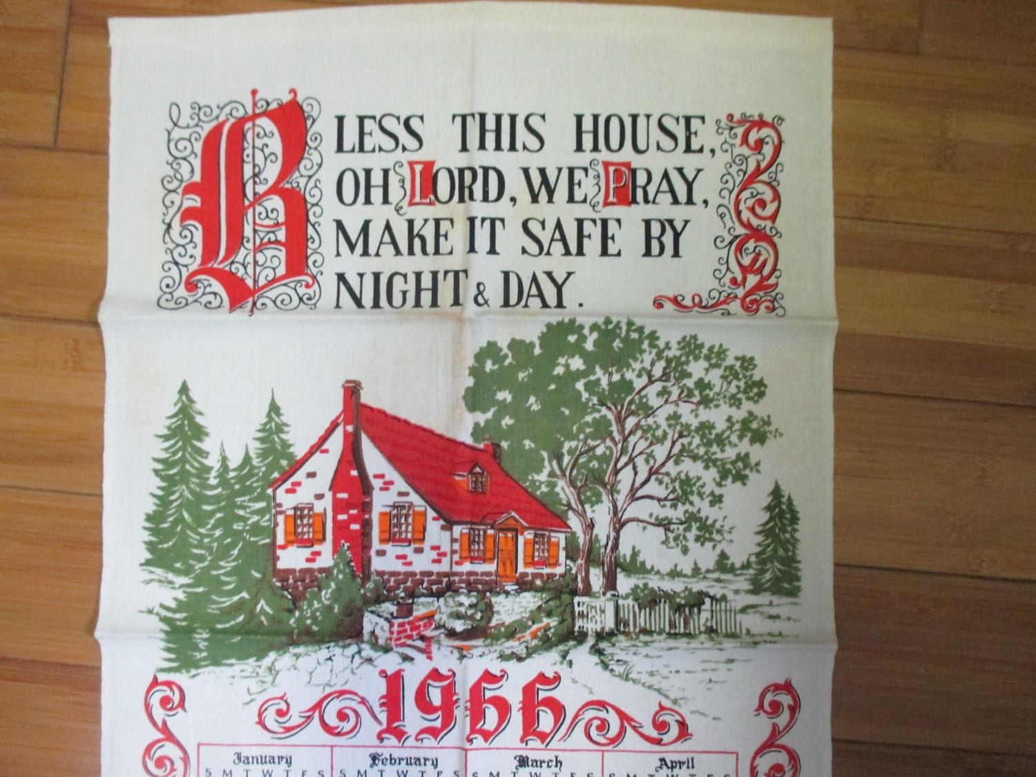 Vintage Linen Kitchen Towel 1966 Calander Bless This House Vivid Colors  Very Clean Display Collectible Kitchen