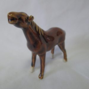 "Vintage Miniature Porcelain Horse Figurine 3 3/4"" across 3"" tall Great Detail"