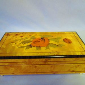 Vintage Modern Retro Hinged Box 1970's Italy Wooden Jewelry Storage decor Mid century style Reuge Musical movement