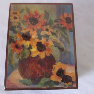 Vintage Modern Retro Hinged Box 1980's USA Wooden Jewelry Storage decor Mid century style Musical Somewhere out there Van Gogh Sunflowers