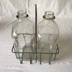 Vintage Pair 1 Gallon Milk Jugs & Metal Drop off Holder Rack Collectible Display Retro Kitchen Decor Display Farm Fresh Dairy Chester ILL