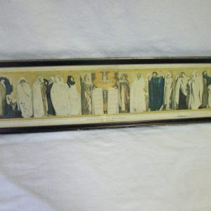"Vintage Pannoramic Framed Print Frieze of the Prophets by John S. Sargent 22"" x 7.5"" Moses Elijah Daniel Ezekiel Nahum Jonah Joel"