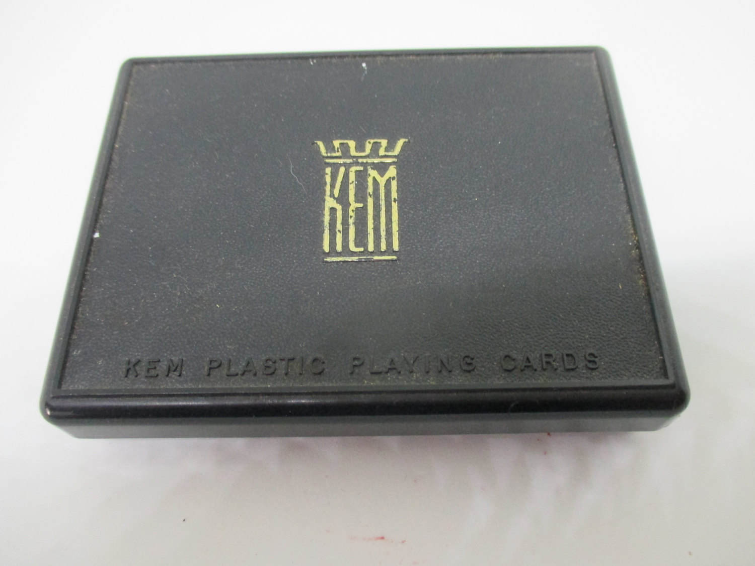 Vintage Playing Cards KEM Double Deck with Double jokers in each deck with service card in hard plastic KEM box decor pattern green &  brown