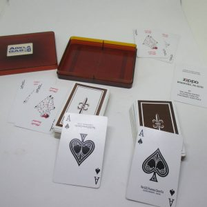 Vintage Playing Cards Zippo Double Deck with Double jokers in each deck Berown and white US Playing Card Co. Cincinnati, USA
