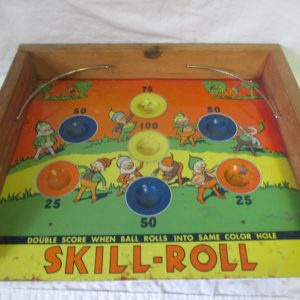 Vintage Skill Roll Tin Litho Game with Pixies Gnomes Artwork Very Cute Skee Ball Double score when ball rolls into same color hole