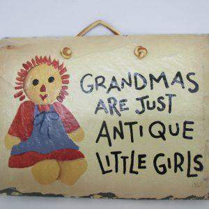 Vintage Slate Grandma Sign Hand Painted Plain Jane Slate New Orleans, LA Grandmas are just Antique little girls