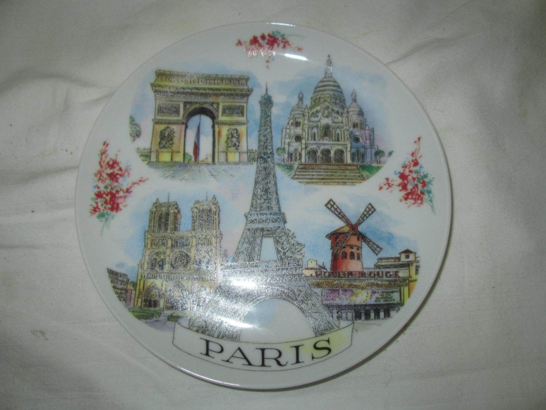 Vintage Souvenir of Paris Plate Wall Hanging Eiffel Tower Moulin ...