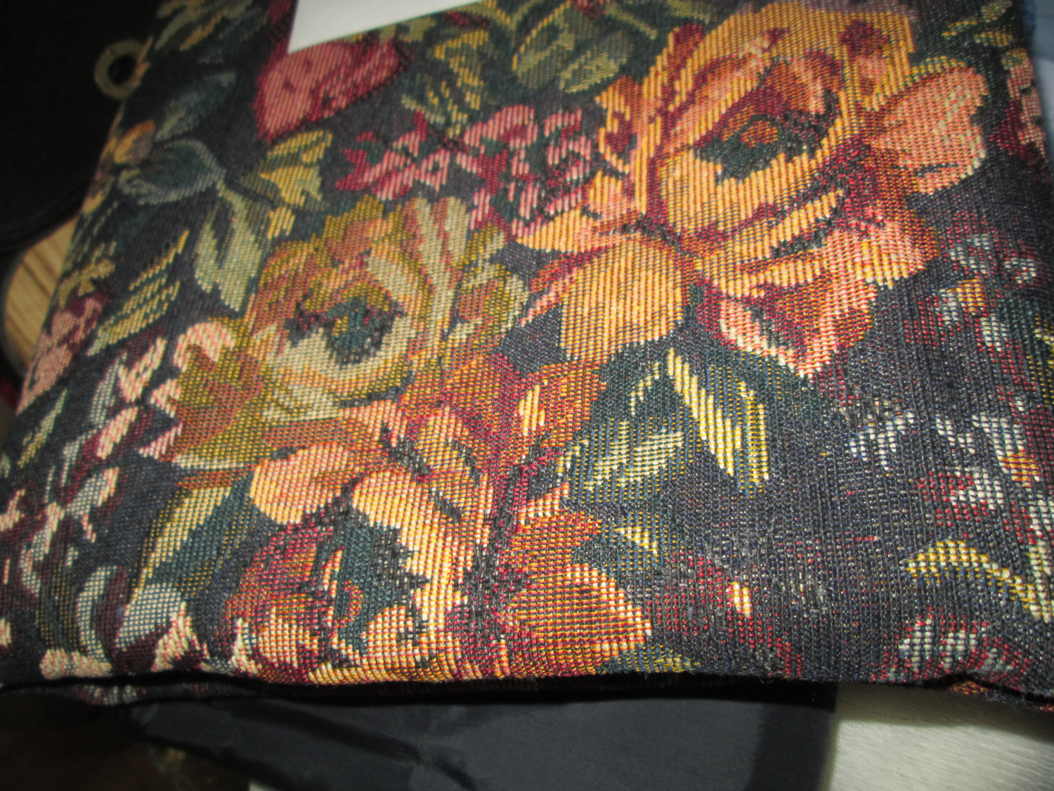 Vintage tapestry Fabric Black background gold, rust brown dark green 1 yard  60