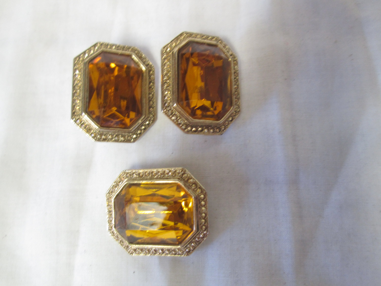 Pin Brooch And Clip Matching Earrings