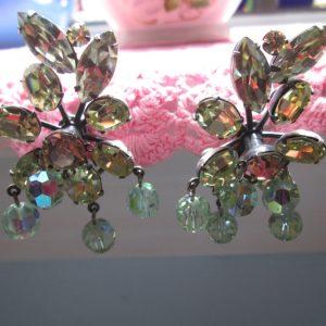 Vintage Vendome Aurora Boarelis Stunning Bead and Rhinestone Earrings Clips