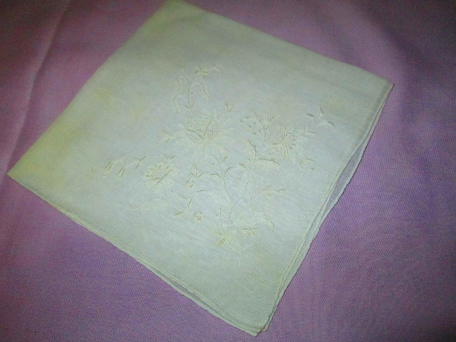Vintage White Wedding Embroidered Hankie handkerchief Floral with ornate detail