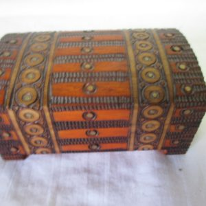 Vintage Wooden Box hand carved detailed design Made in Poland Mid century Modern Storage jewelry trinket box