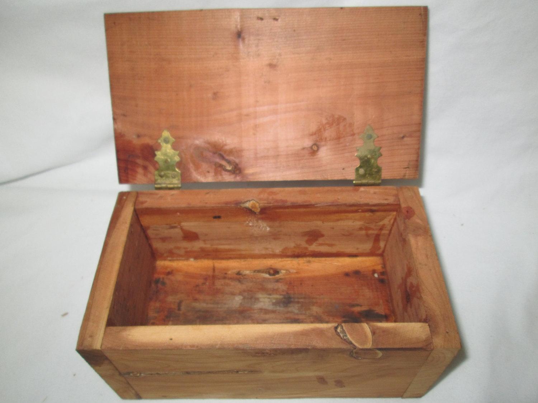 Vintage Wooden Cedar Storage box hand crafted hinged lid storage box