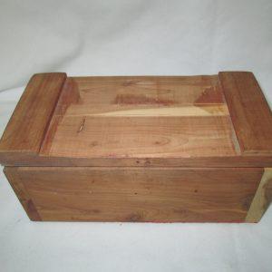 Vintage Wooden Cedar Wood box hand crafted hinged lid storage box