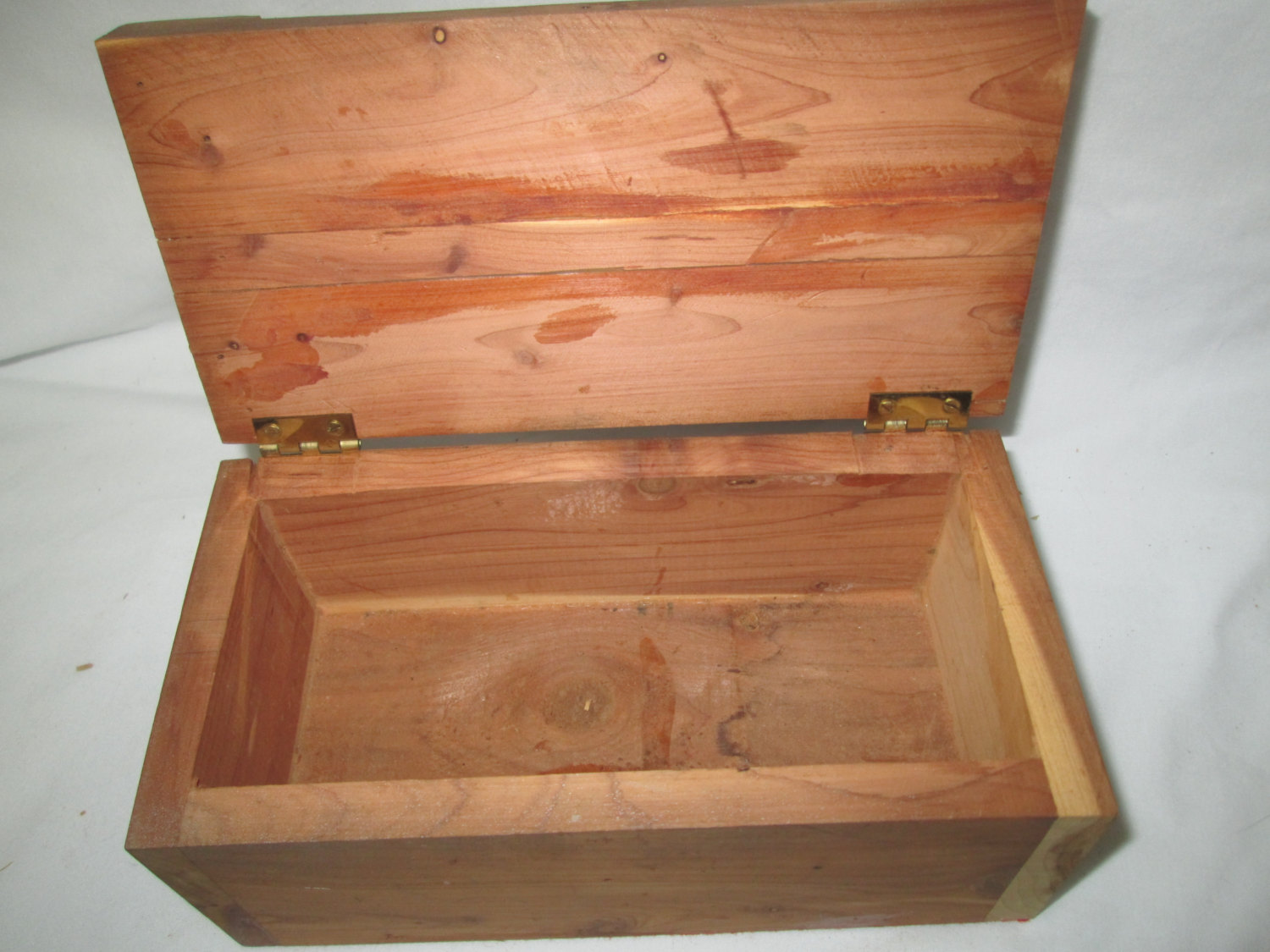 Vintage Wooden Cedar Wood box hand crafted hinged lid storage box