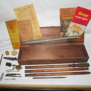Vintage Wooden Hoppe's Box with Gun cleaning kit Wooden parts & metal brushes and accessories