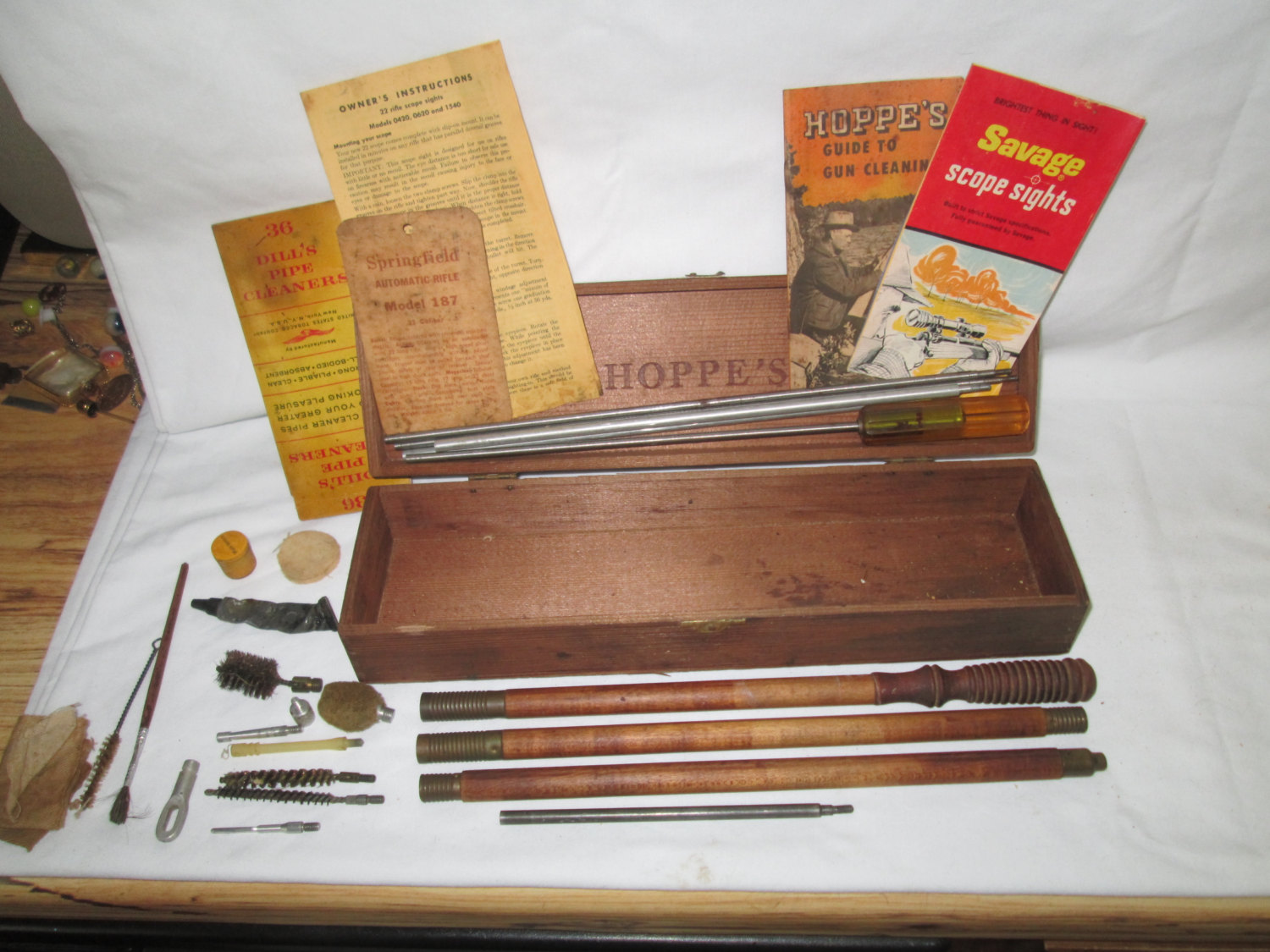 Vintage Wooden Hoppes Box With Gun Cleaning Kit Wooden Parts