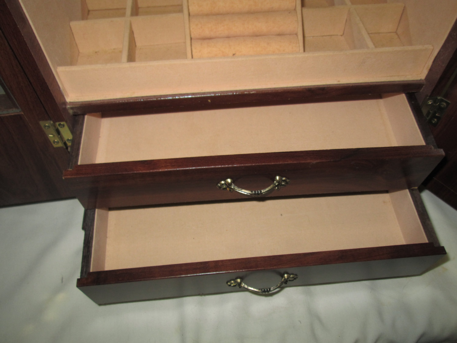 Vintage Wooden Jewelry Box With Metal Pulls Lined And Beveled Glass