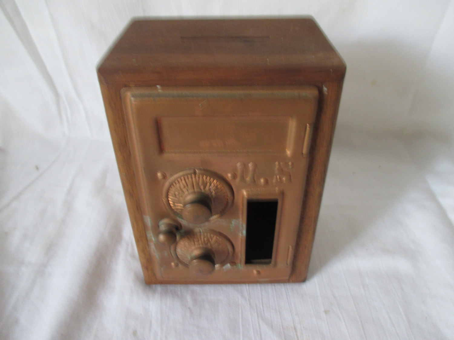 Vintage Wooden Post Office Box Bank Home Made Copper Front Post Box  Combination Lock
