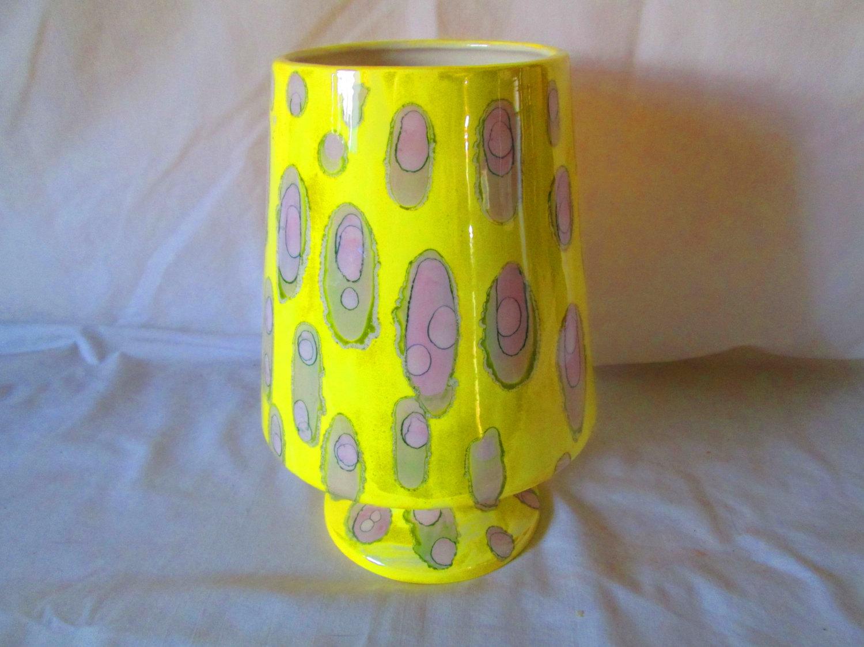 Wow 1950s mid century ceramic modern pedestal vase yellow with wow 1950s mid century ceramic modern pedestal vase yellow with gray and green slight pink or reviewsmspy