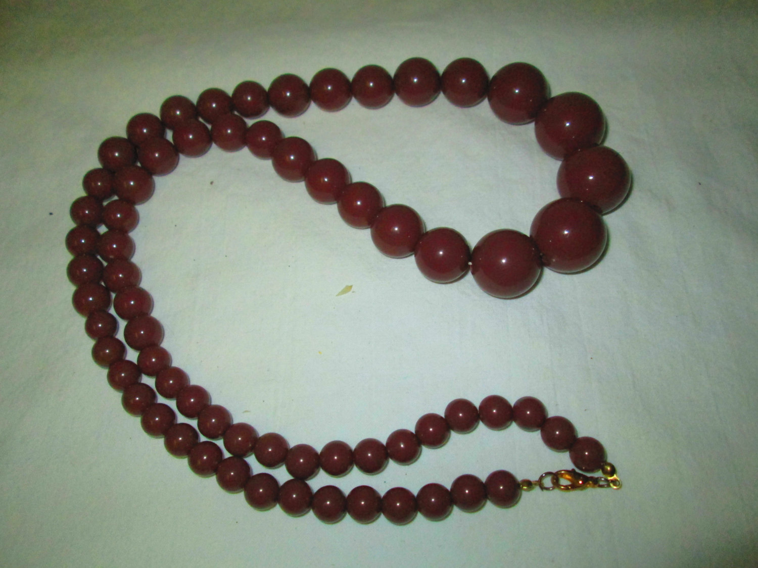 """You have Got To Love This Chocolate Colored Large Mid Century Long Bead Large Bead 30"""" Necklace 15"""" drop Gold tone clasp 3"""" beads"""